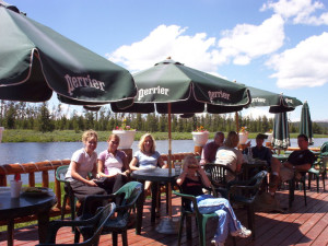 Family on patio at The Angler's Lodge.