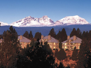Resort condos along the ridge above the Deschutes River at Mount Bachelor Village Resort.
