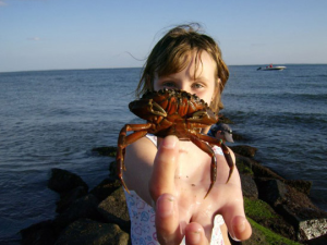 Kid with little crab at Hawk's Nest Beach.