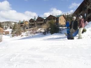 Snowboarding at Eagle Ridge at Lutsen Mountain.