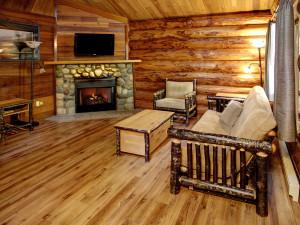 Cabin living room at Tigh-Na-Mara Resort.