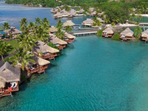 Bungalows at Moorea Beachcomber Inter-Continental Resort.