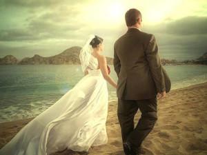 Wedding Couple at Pueblo Bonito Sunset Beach