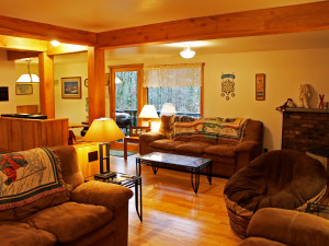 Vacation rental living room at Big Powderhorn Lodging.
