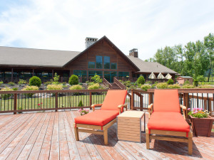 Lounge chairs on the deck at Hanah Mountain Resort & Country Club.