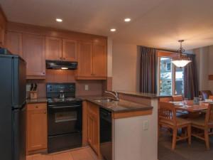 Condo kitchen at Hidden Ridge Resort.