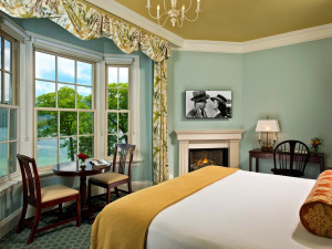 Suite with fireplace at The Otesaga Resort Hotel.