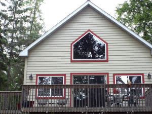 Cabin exterior at Fireside Lake Resort.