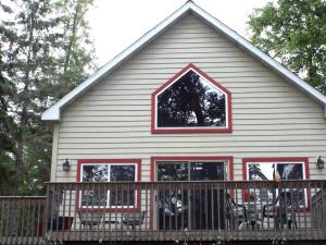 Cabin exterior at Fireside Lake Resort.
