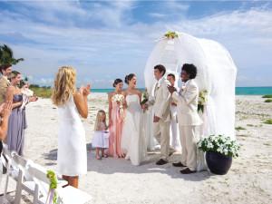 Beach wedding at South Seas Island Resort.
