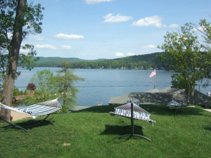 Hammocks with a lake view at The Lodges at Cresthaven on Lake George.