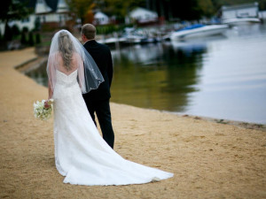 Wedding couple by the beach at Naswa Resort.