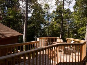 Cabin deck at Black Pine Beach Resort.