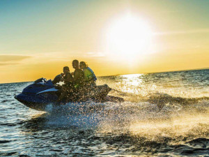 Jet skiing at Barefeet Rentals.