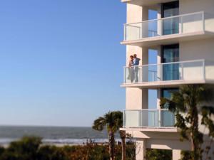 Couple on balcony at Marriott's Crystal Shores.