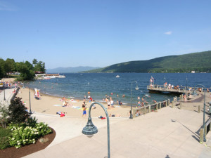 The beach at The Quarters at Lake George.