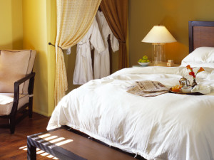 Guest room interior at Hotel Healdsburg.