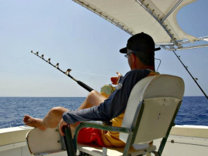 Fishing at Barefeet Rentals.