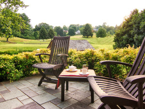 Guest patio at Boar's Head Resort.