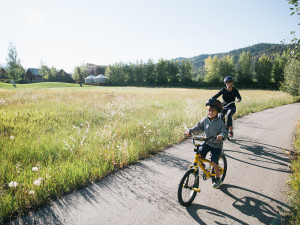 Biking at Teton Springs Lodge.