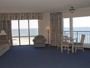 Beach view guest room at Virginia Beach Resort Hotel.
