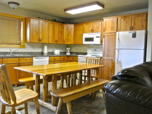 Cabin kitchen at Sawtelle Mountain Resort.