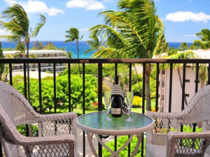 Relaxing on the balcony at Maui Vacation Rentals.