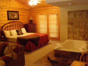 Cabin bedroom at Thousand Hills Golf Resort.