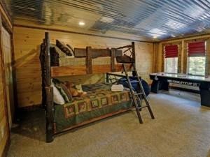 Cabin bedroom at Southern Comfort Cabin Rentals.