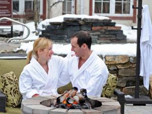 Couple at Residence Inn Mont Tremblant Manoir Labelle.