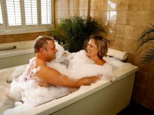 Couple at the spa at Roman Spa Hot Springs Resort.