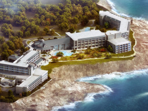 Aerial view of Cliff House Resort & Spa.