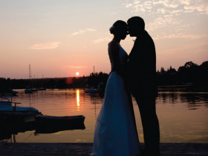 Wedding couple at Smithfield Station.