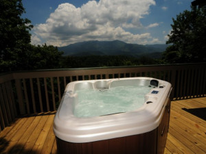 Rental outdoor hot tub at Chalet Village.