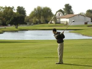 Playing golf at Tubac Golf Resort.