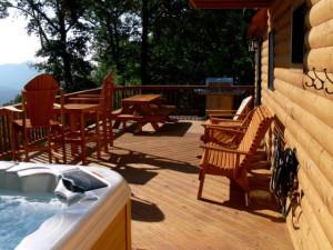Rental deck at Rumbling Bald Resort.