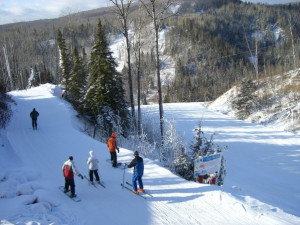 Skiing at Eagle Ridge at Lutsen Mountains.
