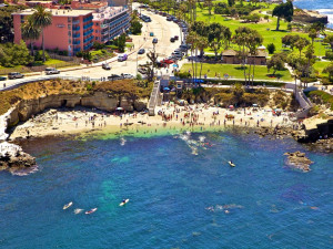 Aerial view of La Jolla Cove Suites.