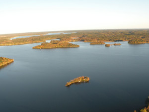 Aerial view of Sams Island Cabin.