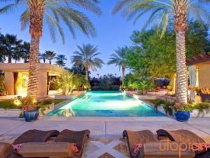 Rental outdoor pool at Utopian Palm Springs Vacation Homes.