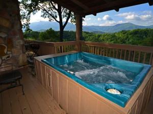 Rental hot tub at Chalet Village.