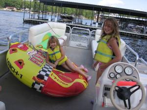 Kids on pontoon at Alhonna Resort.