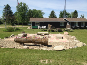 Fire pit and recreation center at Weslake Resort.