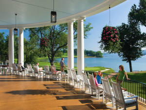 Relaxing on the porch at The Otesaga Resort Hotel.