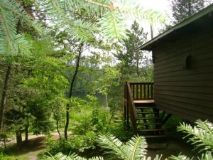 Cabin exterior at Echo Shores Resort.