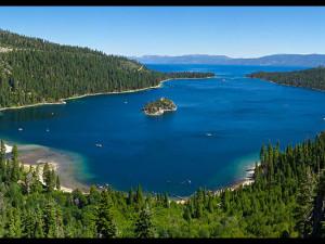Aerial view of Lake Tahoe at Aston Lakeland Village.