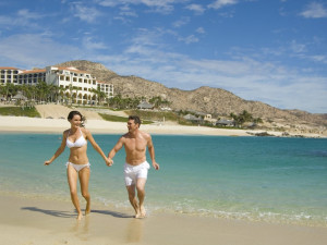 Walking on the beach at  Los Cabos Resort.