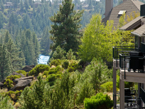 Views of the Deschutes River from a River Ridge Condo at Mount Bachelor Village Resort.