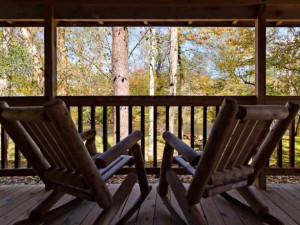 Vacation rental deck at Stony Brook Chalets.