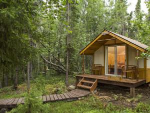 Cabin exterior at Kenai Backcountry Lodge.